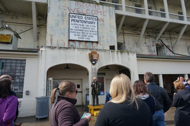 Alcatraz guide giving instructions