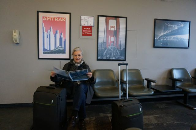Waiting at the Amtrak lounge to start the journey on the California Zephyr