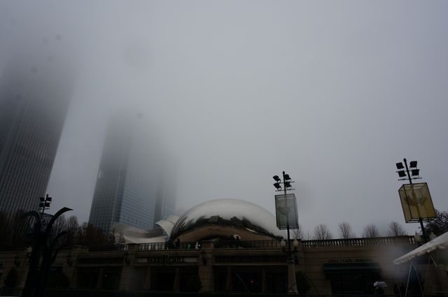 First view of Cloudgate, or The Bean, by Anish Kapoor