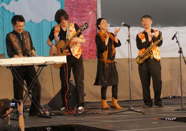 Japanese Jazz Group performing under the marquee