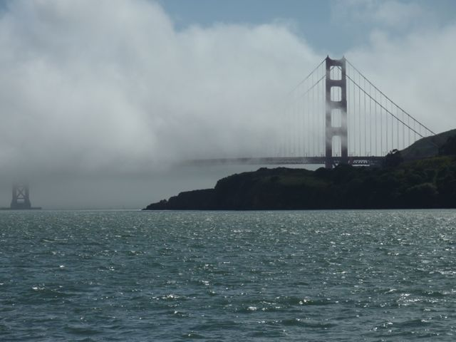 View of the Golden Gate Bridge from the Sausalito ferry
