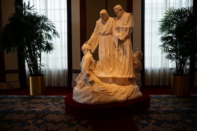 A sculpture of the 14 year old Joseph Smith's visitation by God and Jesus
