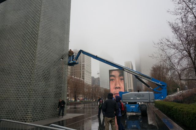 Maintenance work on Crown Fountain