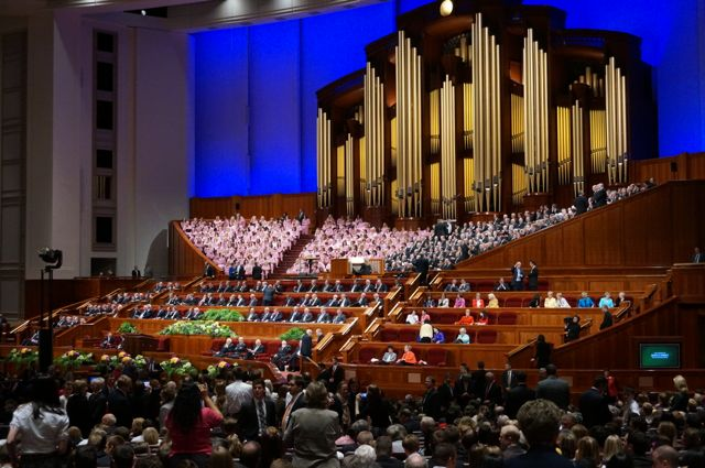 The Mormon Tabernacle choir on the stage of the Convention Centre