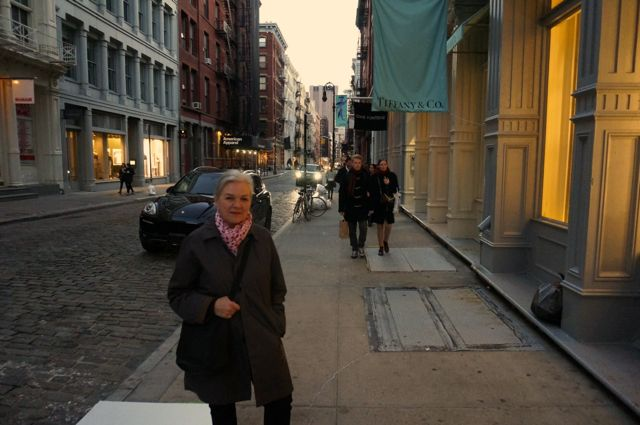 Walking down Greene Street on our first night in New York