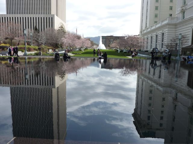 The Mormon Offices on the left, the Joseph Smith building on the right