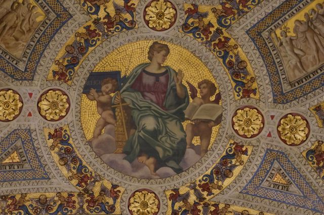 Mosaic ceiling in the oval reception room that leads into the main Morgan library
