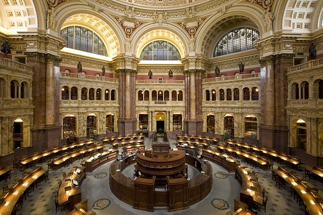 The main reading room in the Library of Congree