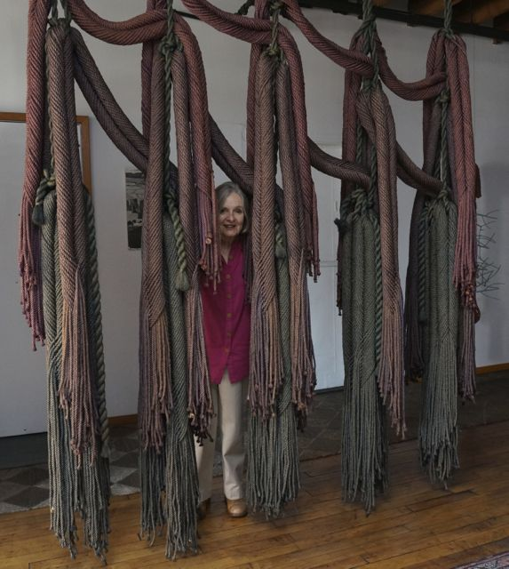 Francoise Grossen with one of her textile works
