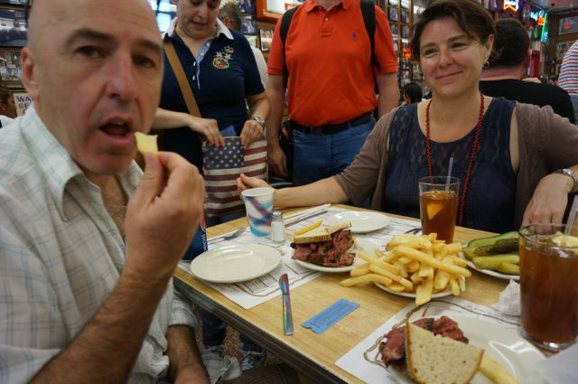 The huge pastrami on rye we share between three - note the plate of pickles