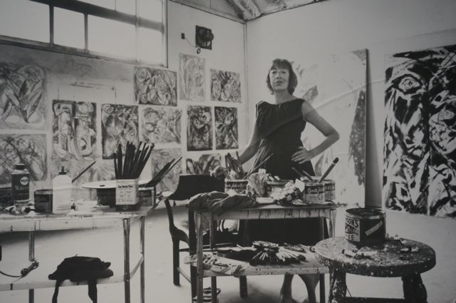 Krasner also used the studio but tacked her canvases to the walls