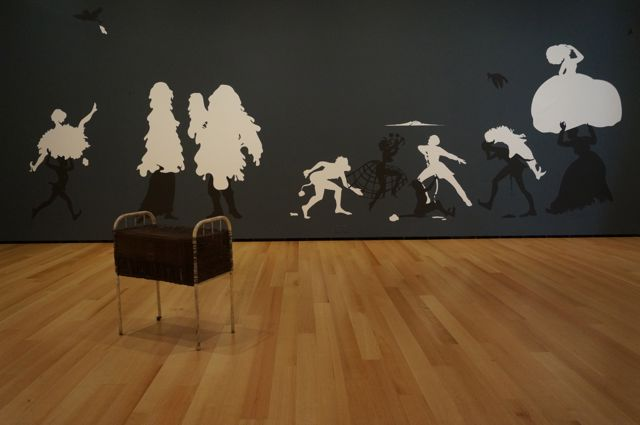 Kara Walker on the wall, Mona Hatoum in the foreground