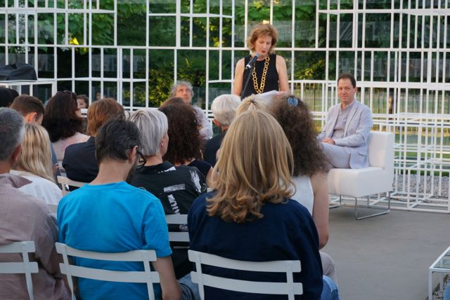 Paul Holdengraber (right) and Adam Phillips (back left) being introduced by the director of the Serpentine Gallery