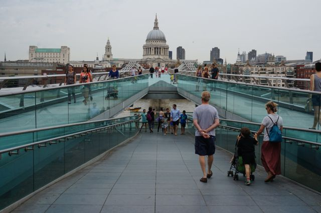 Looking back towards St Pauls from Milleneum Bridge and the entrance to the Tate Modern