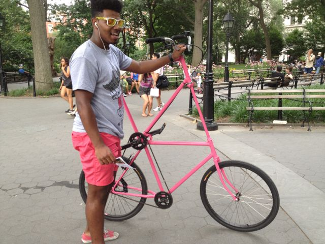 Someone with a very interesting bike in Washington Square