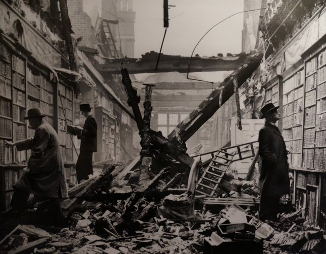 An image from the exhibition in Wellington Arch of Holland House library seriously damaged in WWII